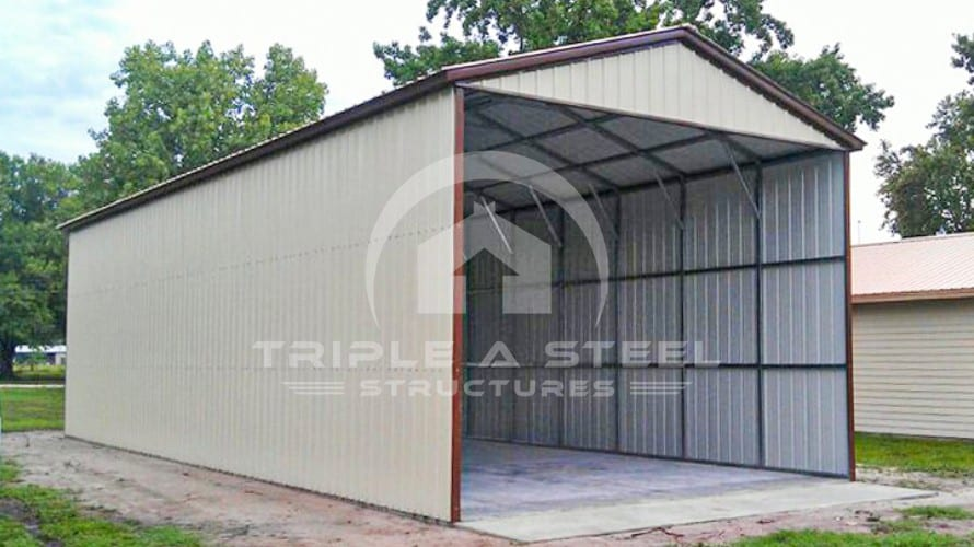 24×41 All Vertical Style Carport with Both Sides and One End Closed