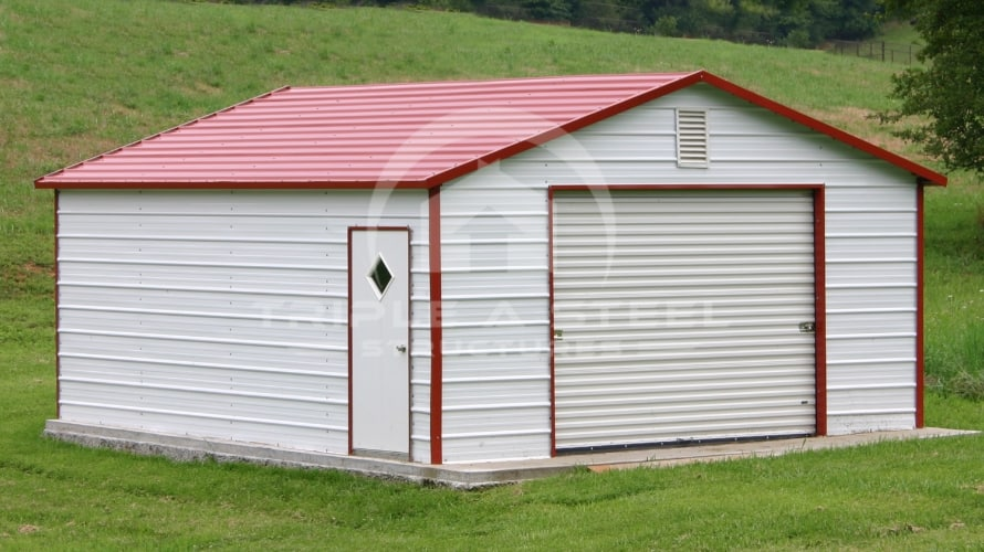 24×21 Boxed Eave Metal Garage