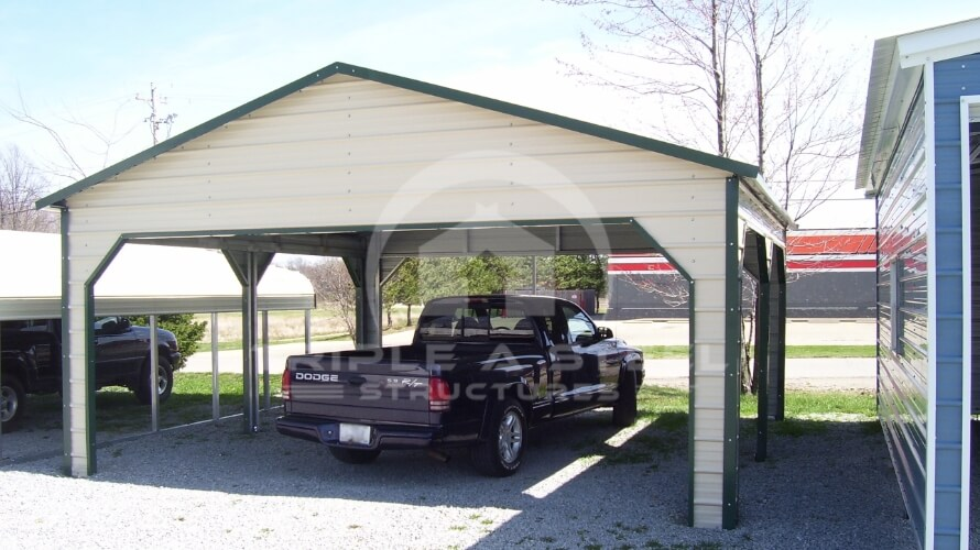 20×21 Boxed Eave Carport Pavilion Style with Two Side Entry