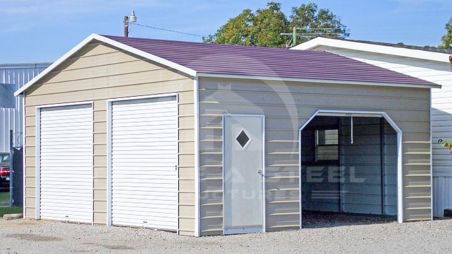 Boxed Eave Garage With Multiple Points Of Entry