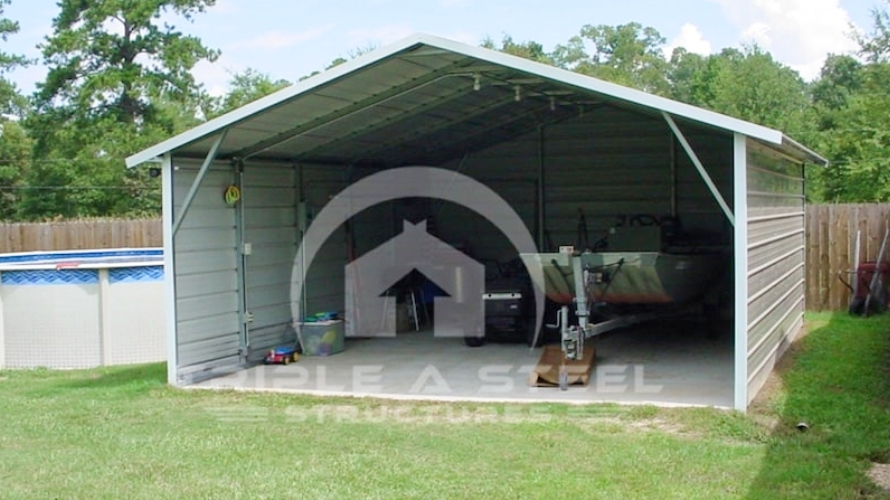 20×31 Boxed Eave Style Carport with Both Sides Closed