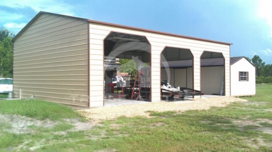 20×36 Boxed Eave Style Carport with One End Closed