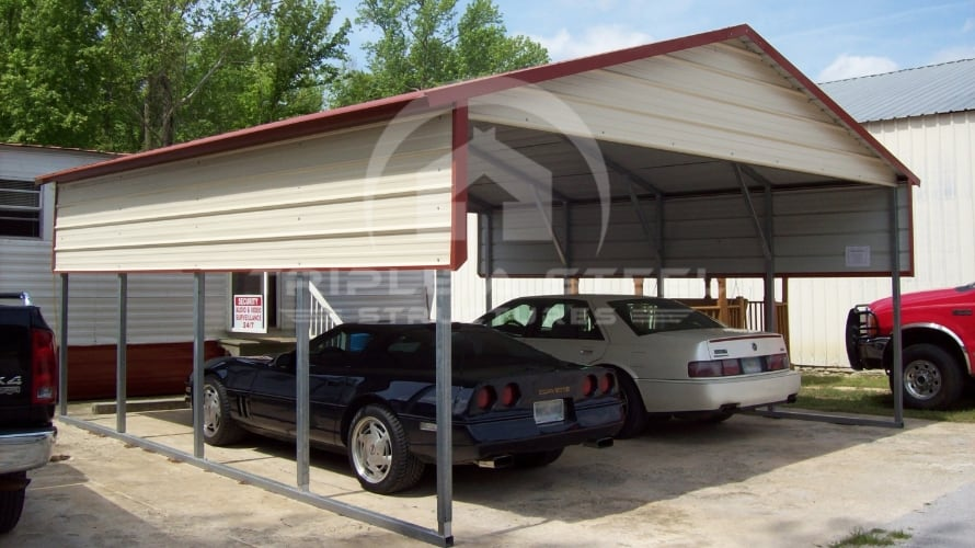20×21 Boxed Eave Style Carport with One Panel Per Side