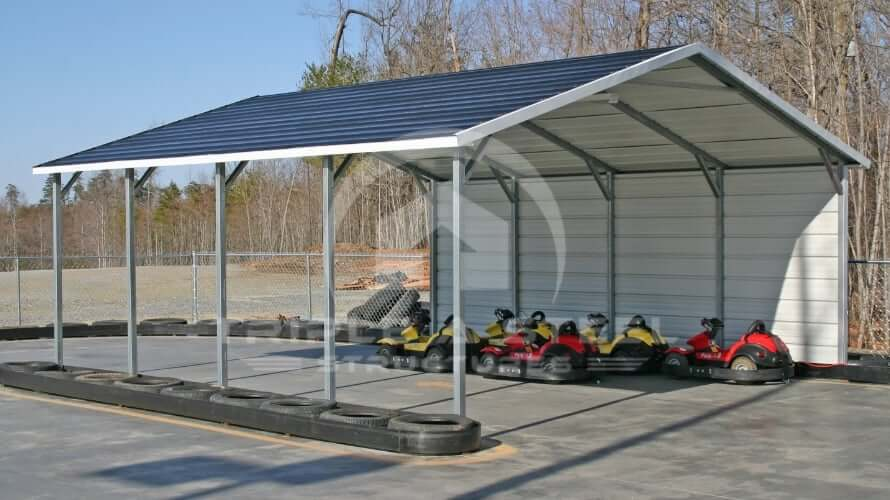 18×21 Boxed Eave Style Carport with One Side Closed