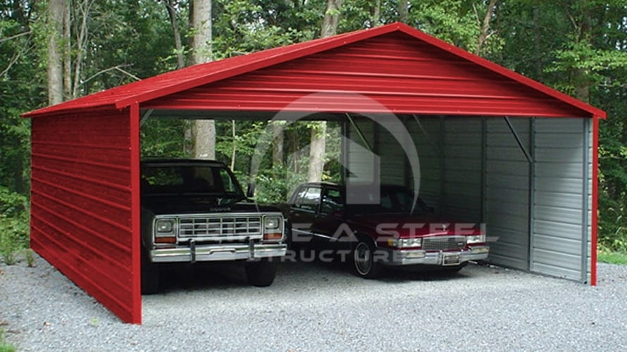 20×31 Boxed Eave Style Carport with Sides Closed and Two Gables