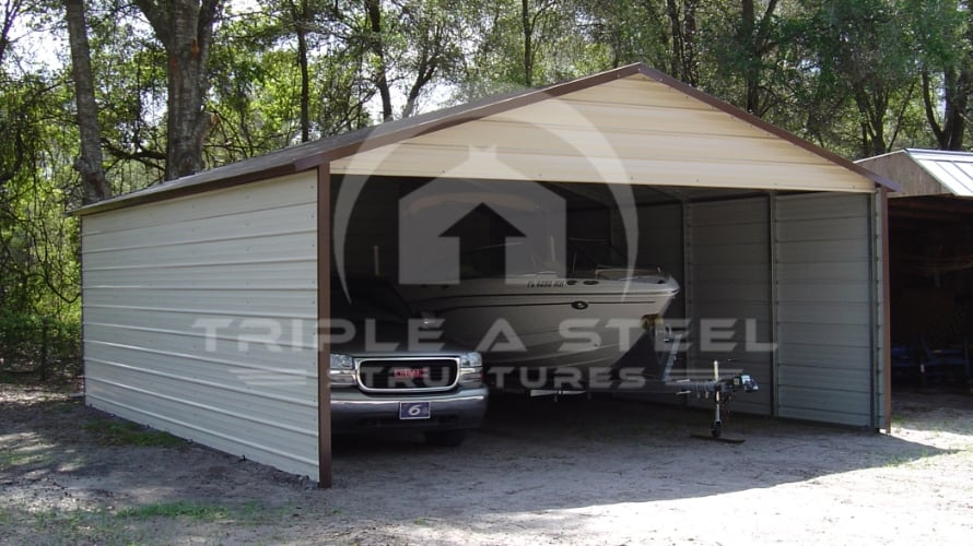 20×26 Boxed Eave Style Carport with Three Sides Closed