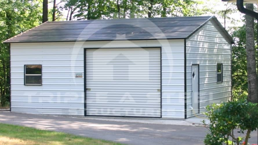 22×26 Boxed Eave Metal Garage