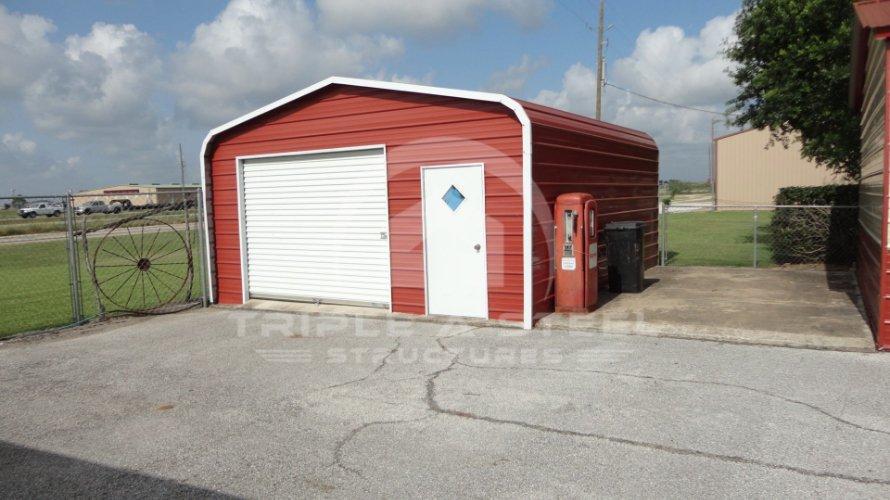 18×21 Regular Metal Garage with Garage and Walk in Door