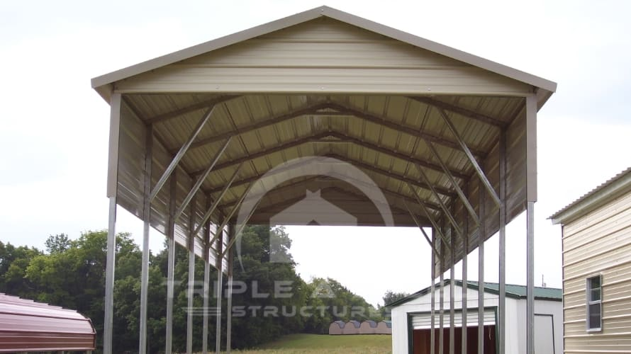 12×36 RV Carport Boxed Eave Style One Panel Each Side