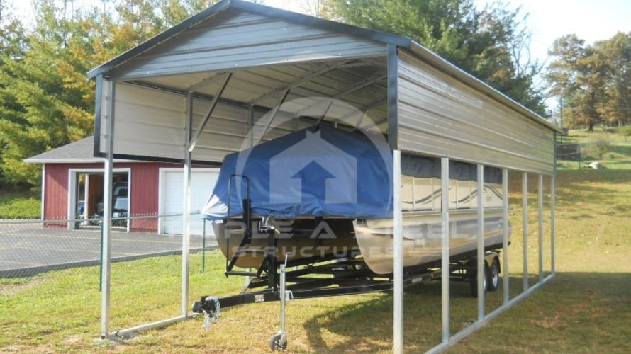 12×30 RV Carport Boxed Eave Style One Panel Each Side