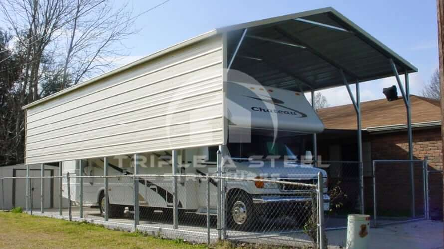 18×36 RV Carport Boxed Eave Style Two Panels on One Side