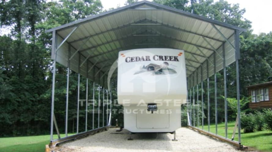 20×36 RV Carport Boxed Eave Style with One Panel Each Side
