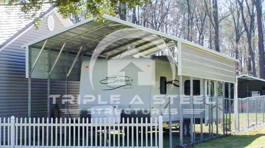 18x36x9 RV Carport Boxed Eave Style with One Panel per Side