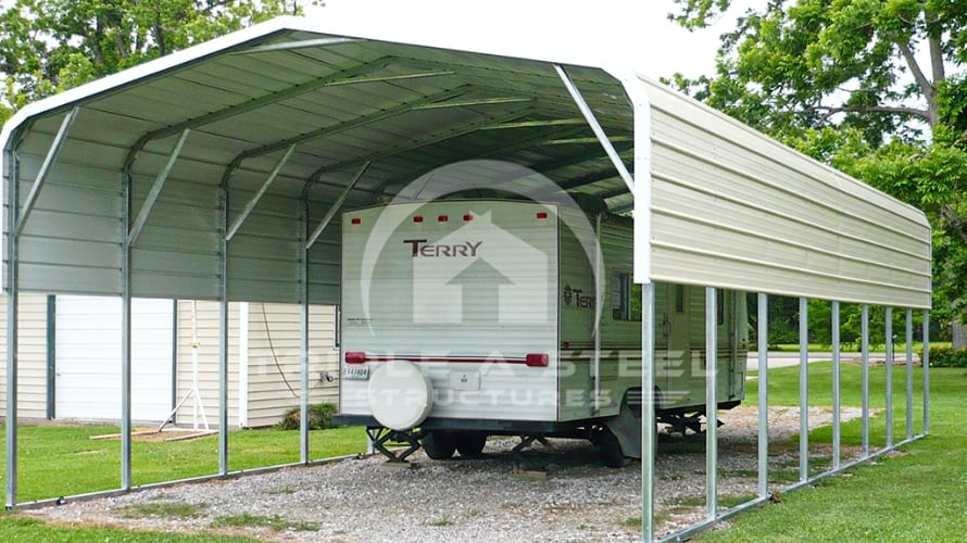 18×30 RV Carport Boxed Eave Style with One Panel per Side