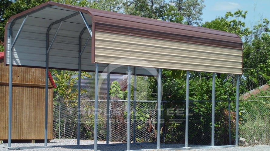 12×26 RV Carport Boxed Eave Style with One Panel per Side