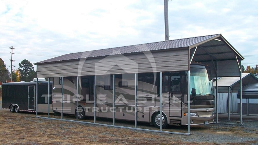 18×40 Vertical Roof Style RV with 1 Panel Each Side