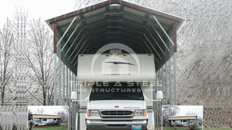 18×30 Vertical Roof Style RV with 1 Panel Each Side