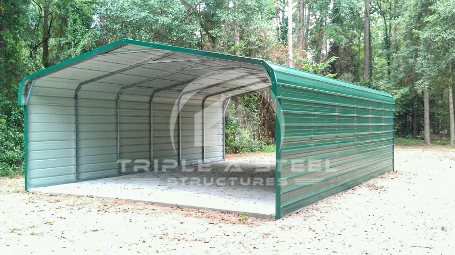 20×31 Regular Style Carport with Both Sides Closed Two Vehicles