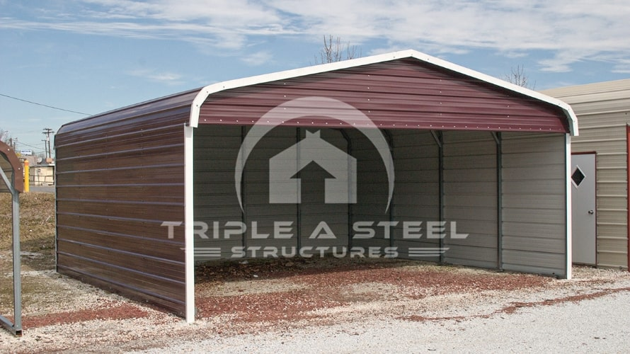 20×21 Regular Style Carport with Both Sides Closed and One End