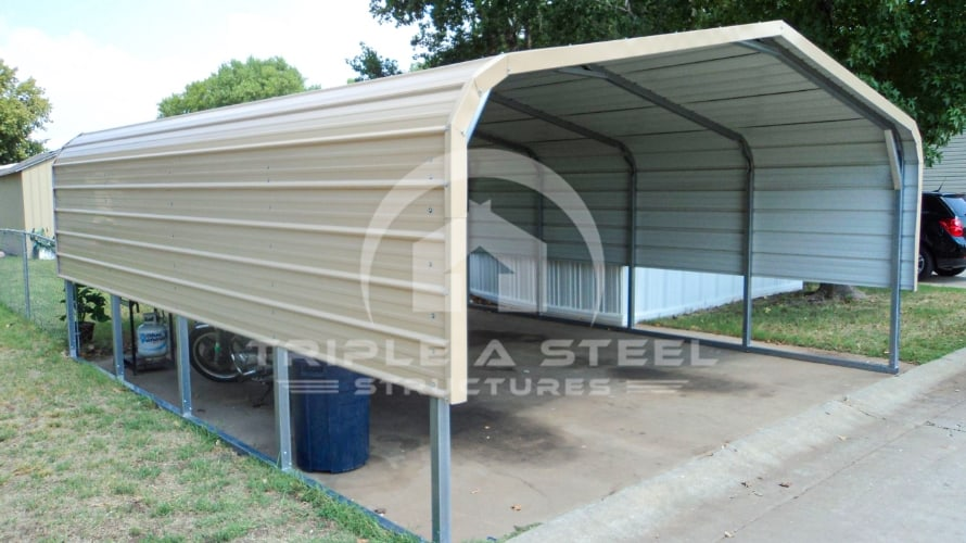 18×21 Regular Style Carport with One Panel Each Side