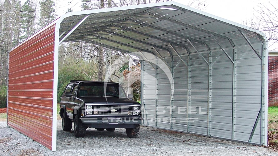 20×31 Regular Style Carport with Two Sides Closed