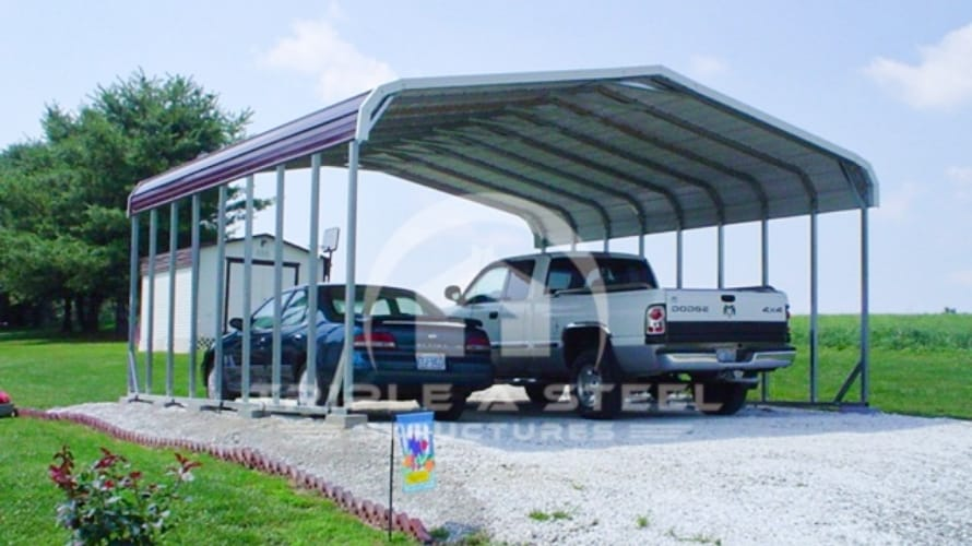 24×36 Regular Style Double Carport for Two Vehicles