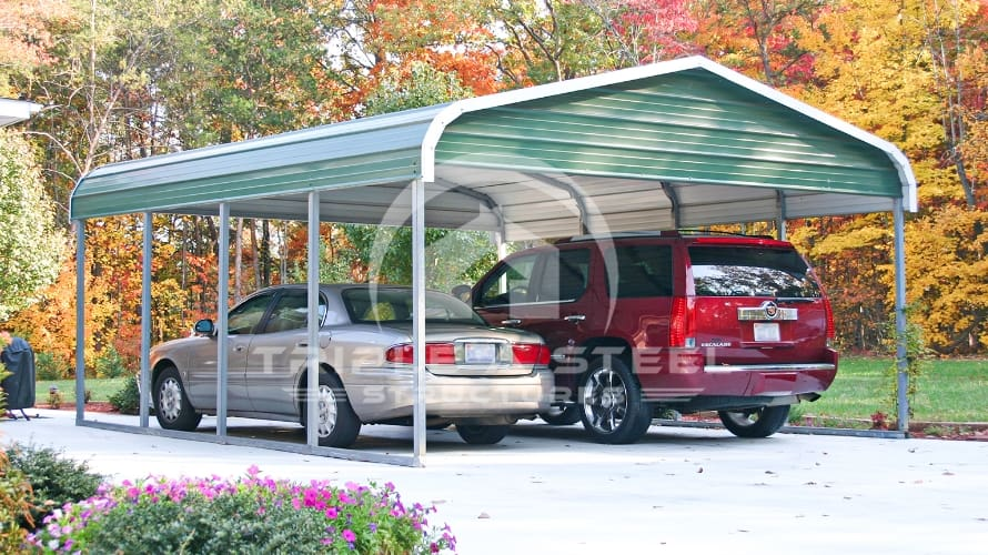 18×21 Regular Style Double Vehicle Carport