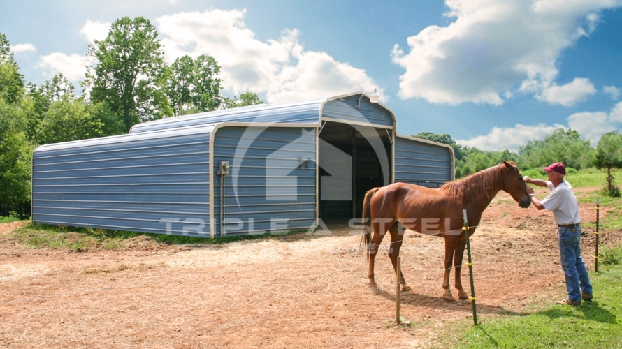 36×36 Regular Style Horse Barn with Horizontal Gable Ends