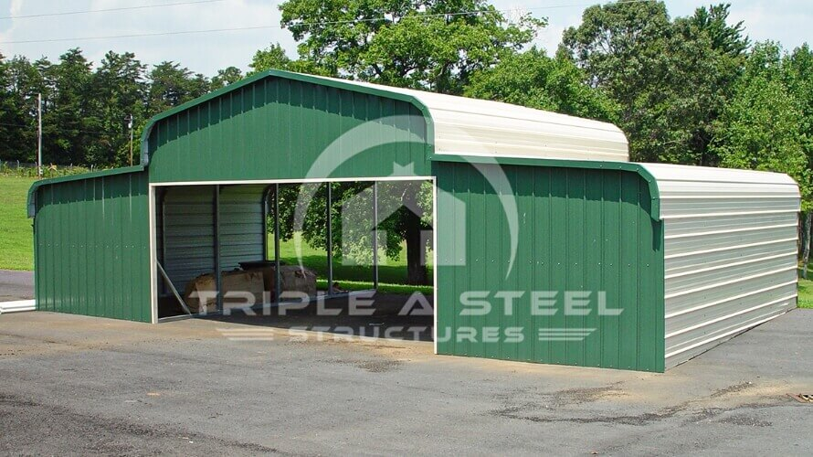 48×21 Regular Style Horse Barn with Two Ends Closed