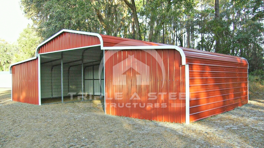 44×36 Regular Style Horse Barn with Fully Enclosed Garage Lean Too's