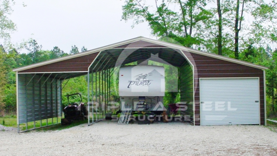 42×36 Seneca Barn Vertical Roof Style with Fully Enclosed Lean Too