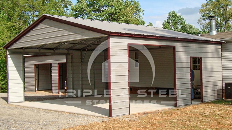 24×36 Vertical Roof Style Carport with Frame Outs