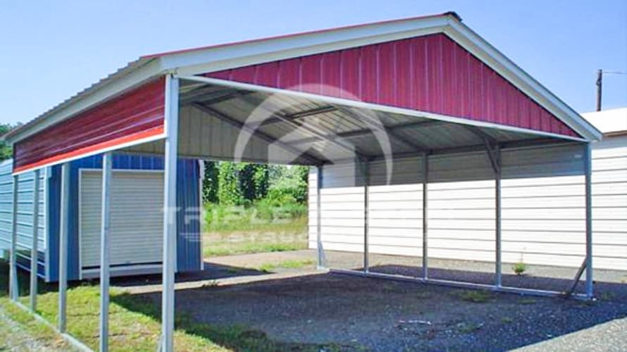 20×21 Vertical Roof Style Carport with Half Panel Each Side