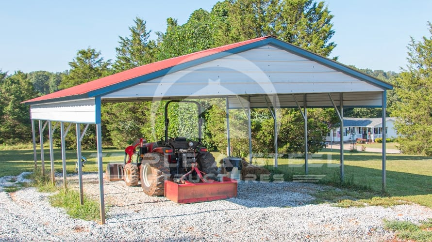 24×26 Vertical Roof Style Carport with One Half Panel Each Side