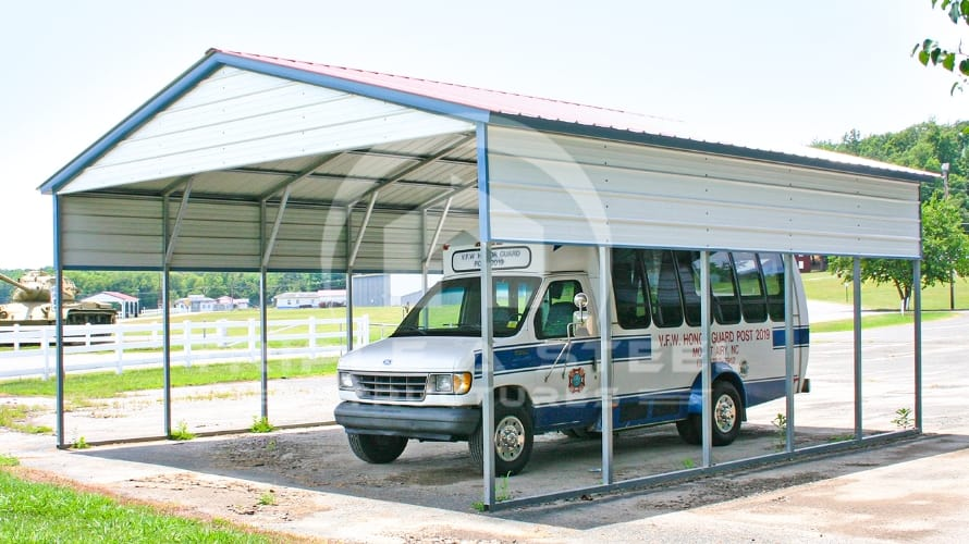 22×26 Vertical Roof Style Carport with One Panel each side