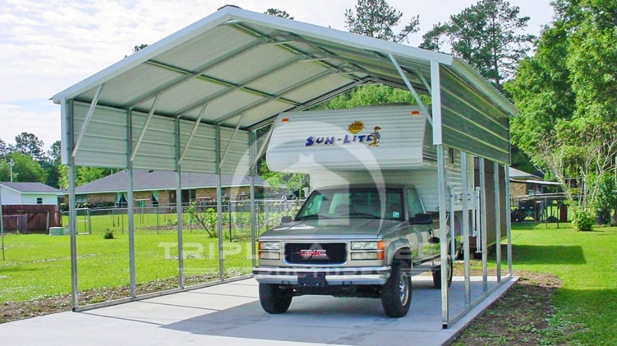 22×26 Vertical Roof Style Carport with One Panel on Each Side