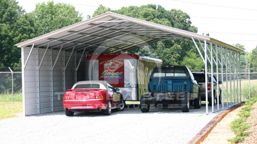 24×41 Vertical Roof Style Carport with One Side Closed