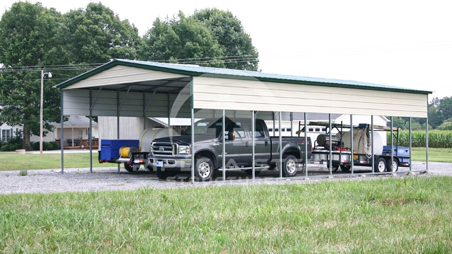 24×41 Vertical Roof Style Carport with Two panels on Each Side