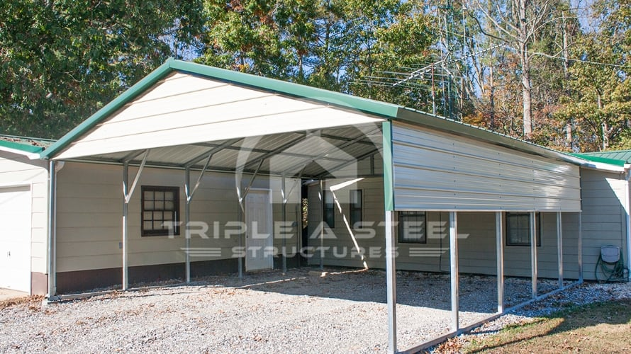 20×26 Vertical Roof Style Two Vehicle Carport with One Side Panel