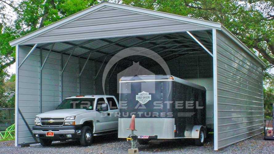 24×41 Vertical Roof Style carport with Both Sides Closed and One End Closed