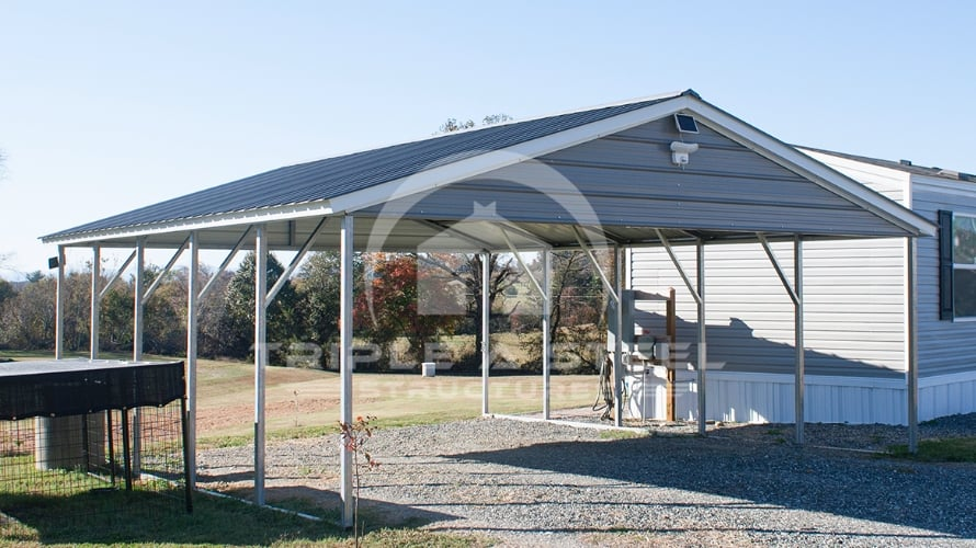 20×26 Vertical Style Two Vehicle Carport with Gables