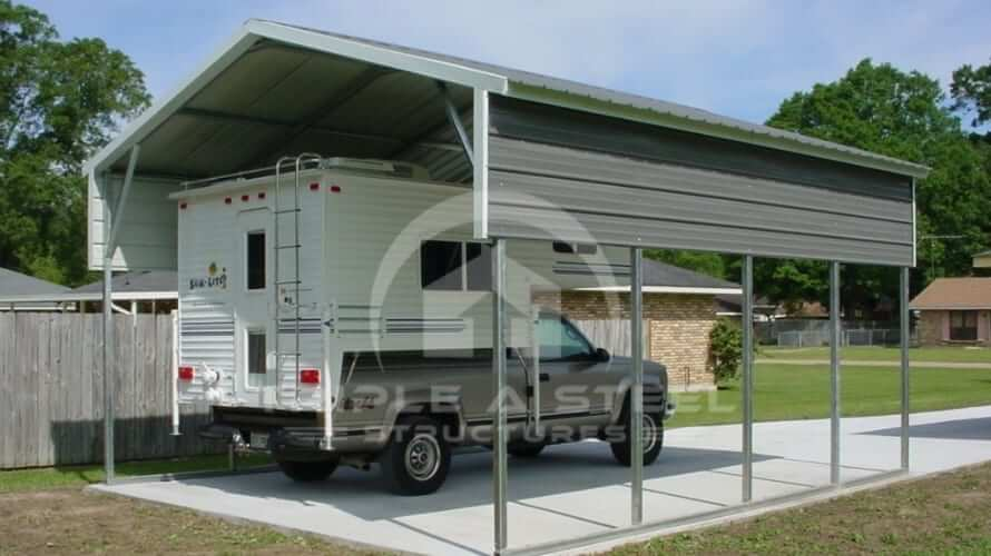 18×21 Vertical Roof Style RV Cover with 1 Panel Each Side