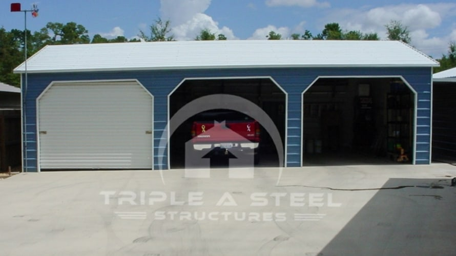24×21 Boxed Eave Metal Garage with Side Entry