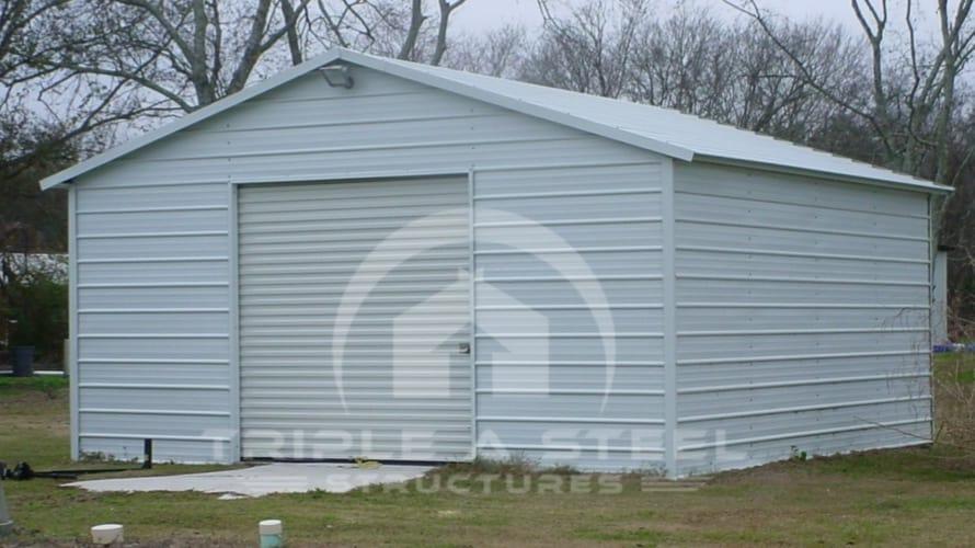 20×21 Boxed Eave Metal Garage with Garage Door
