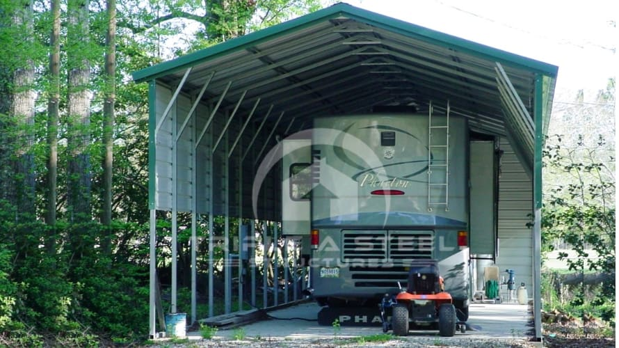 20×30 Vertical Roof Style RV with 2 Panels Each Side