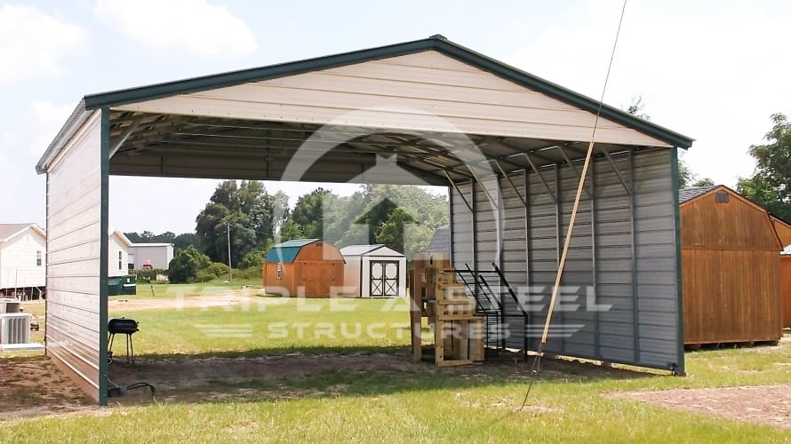 26×30 Vertical Roof Style with 2 Sides Closed and Gable Ends
